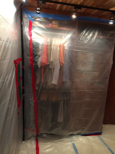 Containment field to protect clothing from dust & spread of mold spores